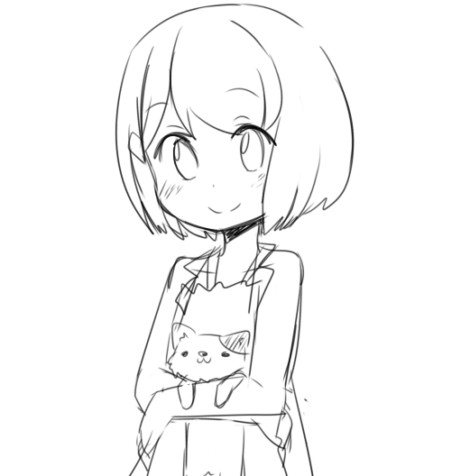 A sketch of an anime girl, holding a cat